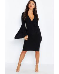 Boohoo - Plunge Neck Flared Sleeve Midi Dress - Lyst 3155fc75a