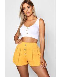 Boohoo - Plus Button Detail Crepe Shorts - Lyst