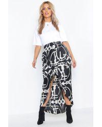 Boohoo - Plus Chain Print Satin Wrap Midi Skirt - Lyst