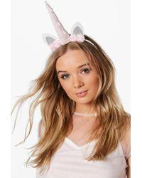 Boohoo - Macy Holographic Bridal Unicorn Headband - Lyst