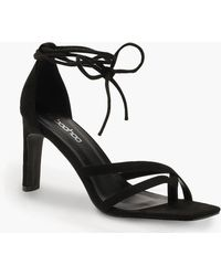 40df8a70aa1 Boohoo Buckle Strap Platform Stiletto Heels in Black - Lyst