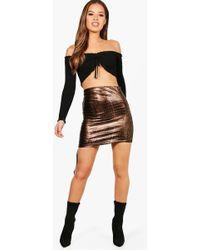 Boohoo - Petite Taylor Snake Drawstring Mini Skirt - Lyst