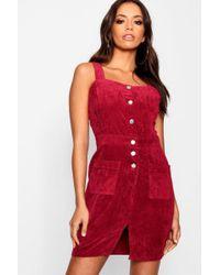 fa3ee010e1 Boohoo - Chunky Cord Mini Pinafore Dress - Lyst