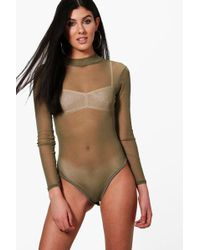 Boohoo - Rose Turtle Neck All Over Mesh Body - Lyst