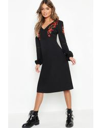 729471d14f06 Boohoo Rainbow Sequin Blouson Sleeve Wrap Dress in Black - Lyst