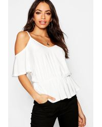 Boohoo - Slinky Caged Cold Shoulder Top - Lyst