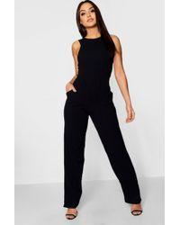 Boohoo - Round Neck Textured Jumpsuit - Lyst