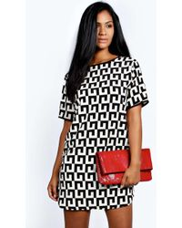 Boohoo - Monochrome Woven Shift Dress - Lyst
