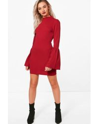 Boohoo | Pia High Neck Crepe Flare Sleeve Shift Dress | Lyst