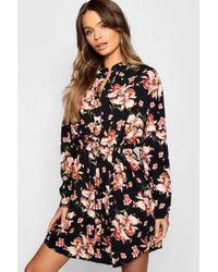 c35c25eae352 Lyst - Boohoo Embroidered Tie Waist Shirt Dress in Black