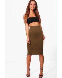 Boohoo - Petite Basic Ponte Bodycon Midi Skirt - Lyst