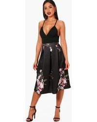 74f25fc7e2 Boohoo Petite Leanne Dark Floral Split Maxi Skirt in Black - Lyst