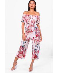 Boohoo - Josie Floral Print Crinkle Culotte Jumpsuit - Lyst