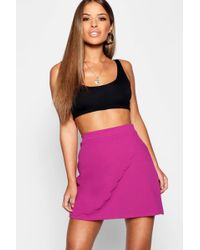 Boohoo - Petite Scallop Wrap Skirt - Lyst