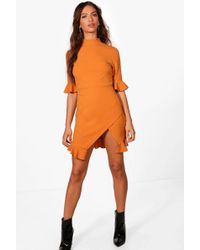 Boohoo | Lucy Ruffle Hem Asymmetric Mini Dress | Lyst