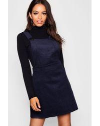 2447fdb550 Lyst - Boohoo Plus Horn Button Denim Pinafore Dress in Black