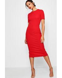 Boohoo - Tall Short Sleeve Tailored Midi Dress - Lyst