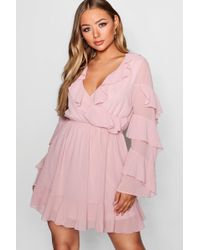 Boohoo - Boutique Frill Detail Skater Dress - Lyst