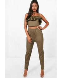 Boohoo - Woven Off Shoulder Crop And Trouser - Lyst