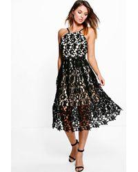 Boohoo - Boutique Ria Strappy Lace Midi Skater Dress - Lyst