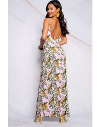 Boohoo - Low Back Tropical Print Strappy Maxi Dress - Lyst