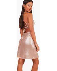 Boohoo - Louisa Metallic Strappy Back Swing Dress - Lyst