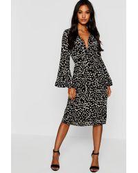 9321dff40484 Boohoo Embellished Stud Detail Plunge Midi Dress in Black - Lyst