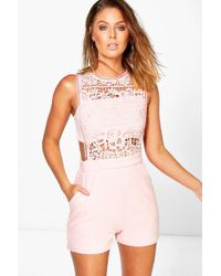 4edb576fedc Lyst - Boohoo Boutique Crochet Barely There Romper in White