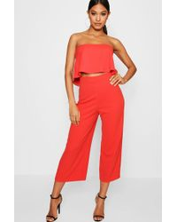 Boohoo | Cari Bandeau Top & Culottes Co-ord Set | Lyst