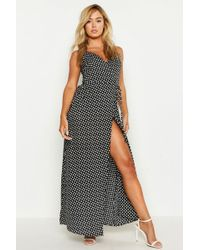 db317a631 Boohoo Petite Ditsy Floral Maxi Woven Wrap Dress in Black - Lyst