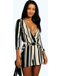 Boohoo - Lucia Striped Relaxed Self Belt Playsuit - Lyst