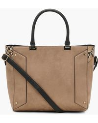 Boohoo - Mixed Texture Structured Tote - Lyst