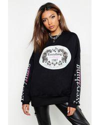 Boohoo - Oversized Slogan Sweatshirt - Lyst