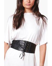 Boohoo - Maisie Pu Lace Up Corset Belt - Lyst
