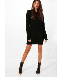 Boohoo - Full Cable Knit Jumper Dress - Lyst