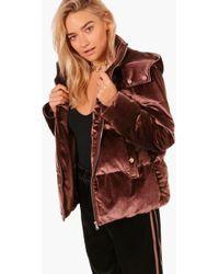 Boohoo - Harriet Boutique Velvet Padded Jacket - Lyst