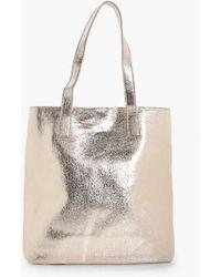Boohoo | Amy Metallic Textured Shopper Bag | Lyst