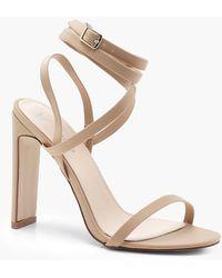 19d5ead183f1 Boohoo - Skinny Block Heel Wrap Strap Sandals - Lyst