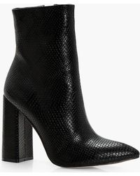 Boohoo - Shelley Snake Detail Pointed Shoe Boot - Lyst