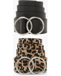 Boohoo - 2 Pk Double Ring Belt Pack - Lyst