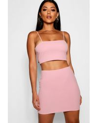 Boohoo - Strappy Crop & Mini Skirt Co-ord Set - Lyst