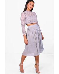 Boohoo - Boutique Lace Top And Midi Skirt Set - Lyst