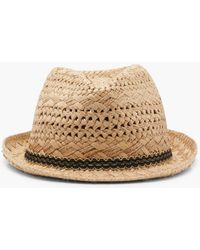 Boohoo - Georgie Scallop Edge Trim Straw Trilby Hat - Lyst