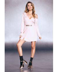 Boohoo - Premium Foiled Satin Chain Belt Tux Dress - Lyst
