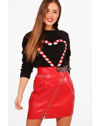 Boohoo - Petite Candy Cane Heart Christmas Jumper - Lyst