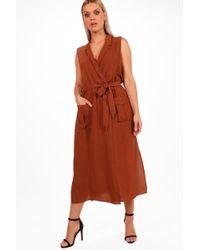 Boohoo - Plus Utility Wrap Dress - Lyst