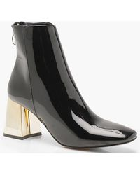 61a456f503 Lyst - Boohoo Megan Gold Fastening Detail Pointed Shoe Boots in Black