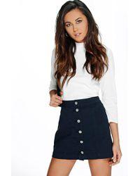 Boohoo - Button Through Denim A Line Skirt - Lyst