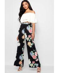 Boohoo - Premium Oriental Floral Wide Leg Trouser - Lyst