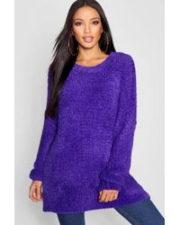Boohoo - Oversized Boyfriend Fluffy Knit Jumper - Lyst